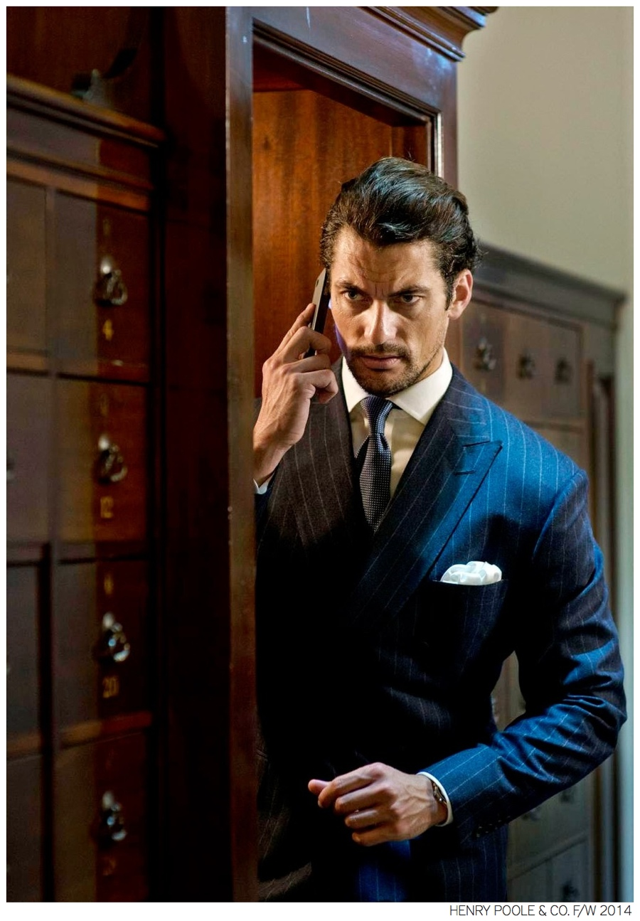 David Gandy Wears Elegant Suits for Henry Poole & Co. Fall/Winter 2014 Campaign