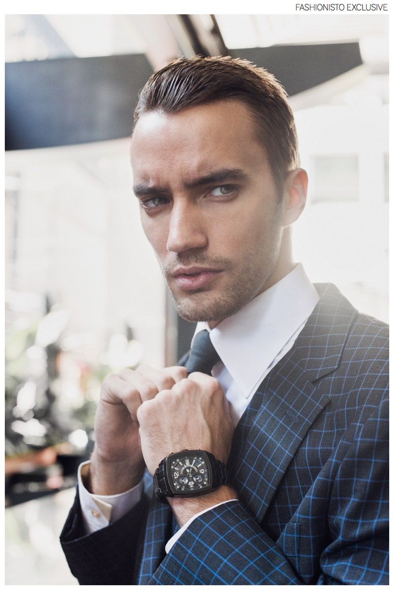 Clement wears all clothes Christopher Bates and timepiece stylist's own.