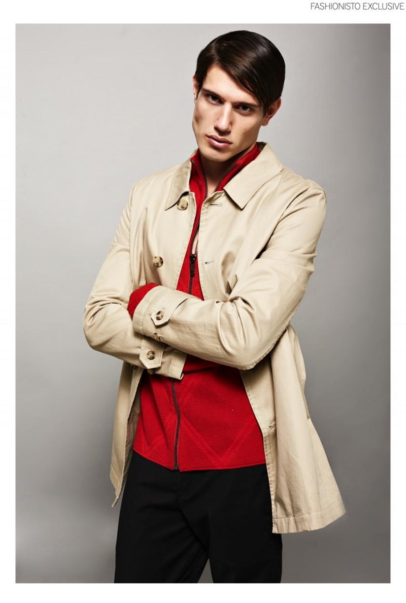 Marco wears coat ASOS, zipped knit jacket and trousers Dirk Bikkembergs.