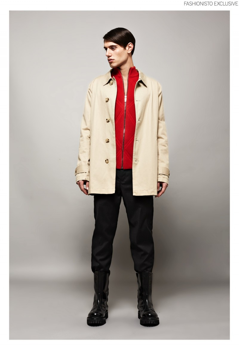 Marco wears coat ASOS, zipped knit jacket and trousers Dirk Bikkembergs.