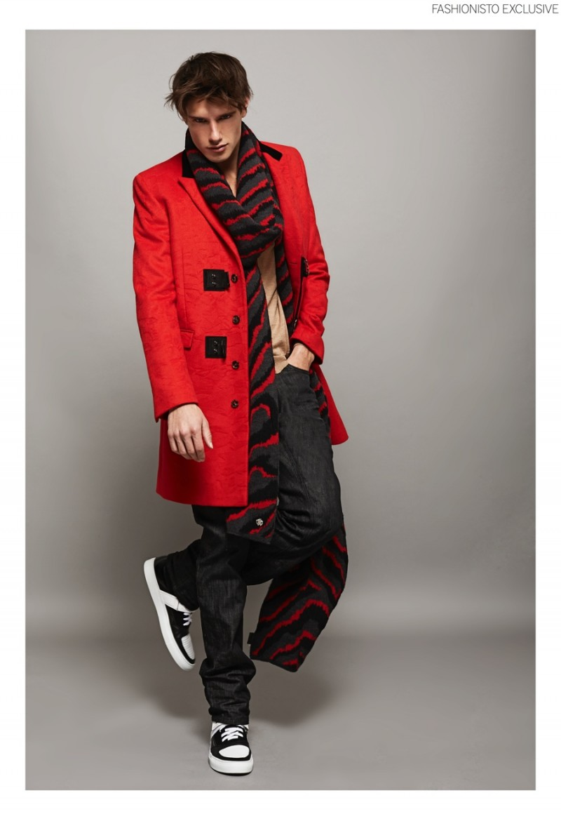 Marco wears coat and scarf Roberto Cavalli, cardigan and trousers Just Cavalli and shoes Frankie Morello.