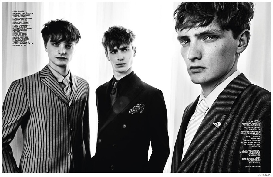 Ben Allen, Robert Laby + Yannick Abrath Don Fall Suiting for GQ Russia September 2014 Issue