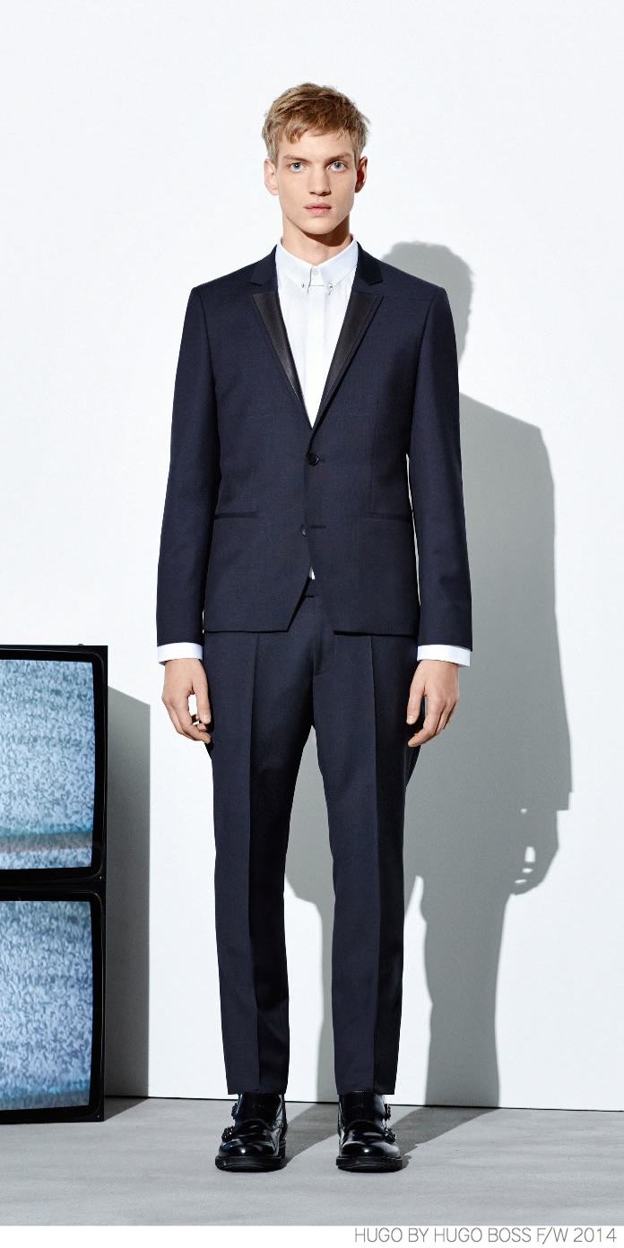 HUGO by Hugo Boss Provides Navy Suiting + Modern Outerwear for Fall/Winter 2014