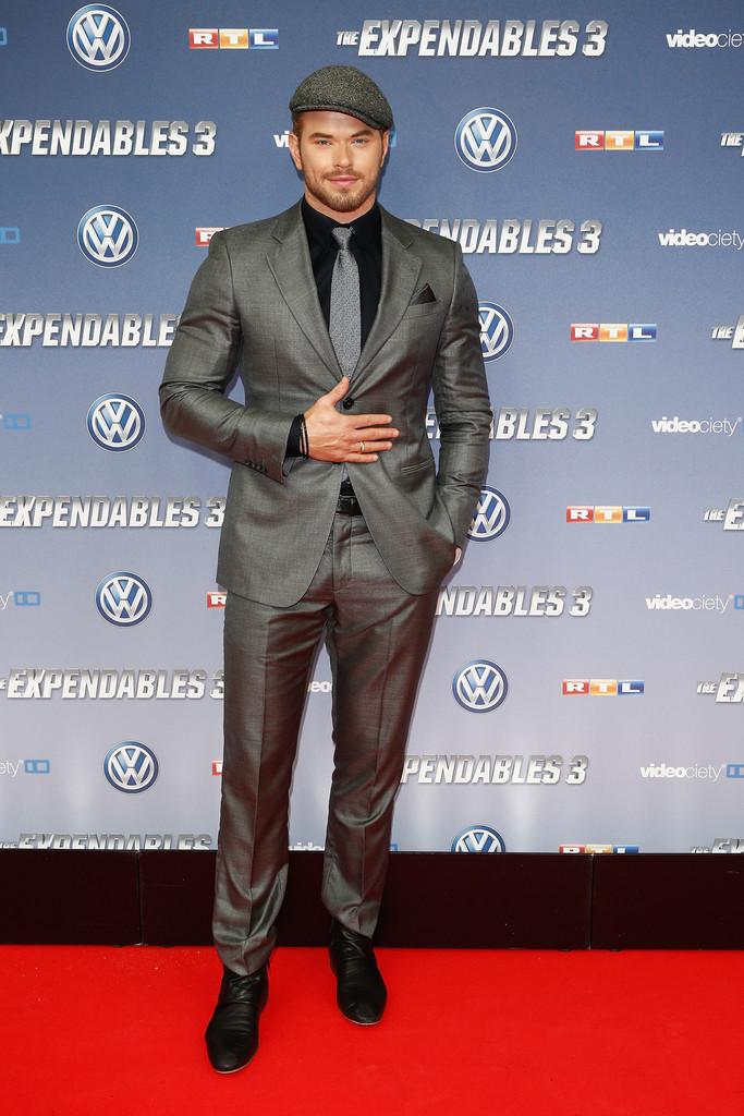 Kellan Lutz Completes Giorgio Armani Suit with Driving Cap