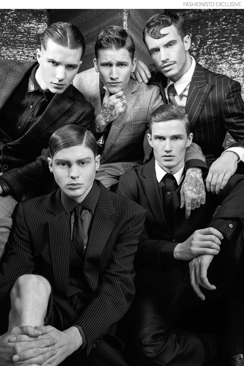 Top Row (Left to Right): Nick wears suit Brooks Brothers and shirt Kenneth Ning. Leebo wears jacket and shirt Duckie Brown. Jeff wears jacket, shirt and tie Brooks Brothers. Second Row: Shane wears vintage suit, shirt and tie Duckie Brown. Jules wears jacket Duckie Brown and shirt Kenneth Ning.