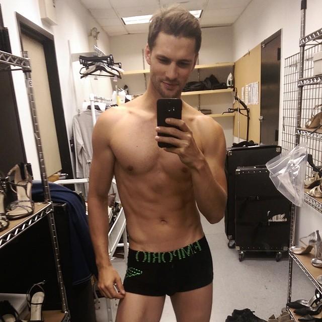 Tomas Skoloudik shows off his Emporio Armani underwear