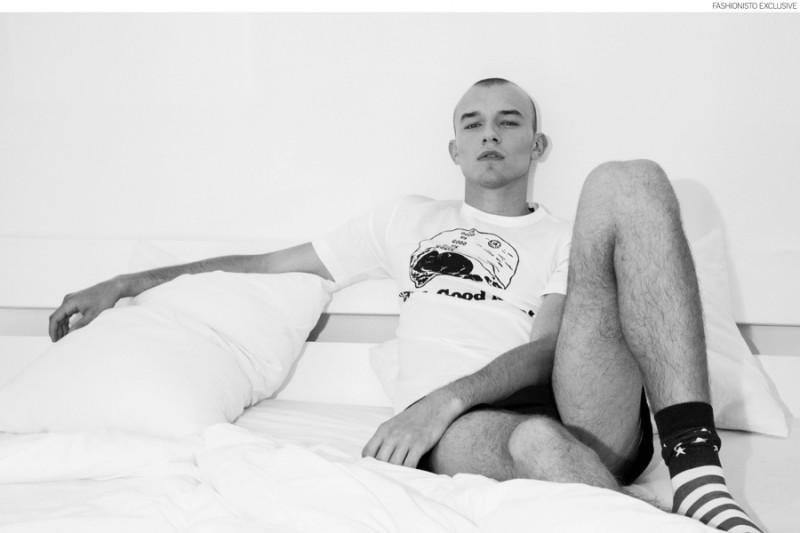 Adam wears t-shirt Junya Watanabe, shorts Neil Barrett and socks American Apparel.