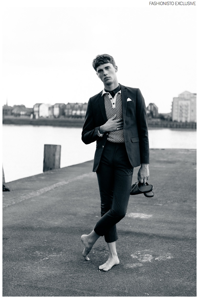 Yarik wears shoes River Island, jumper and t-shirt Gabicci, blazer and trousers ASOS.