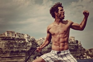 Justice Joslin strikes a pose and shows off his muscles.