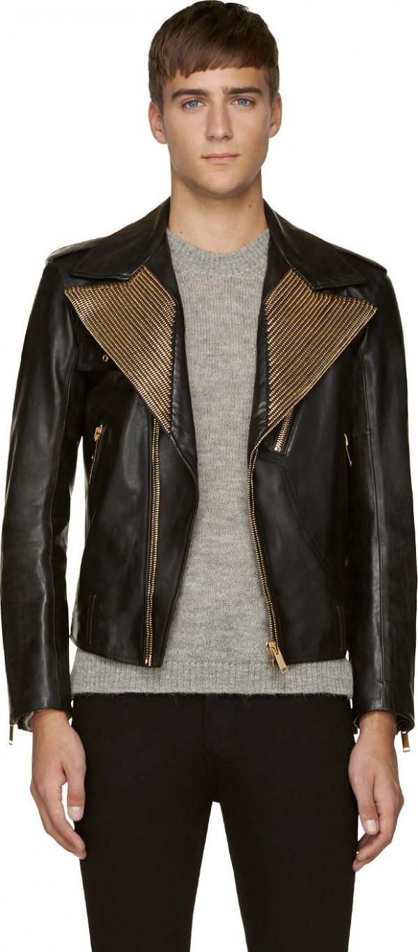 Alexander McQueen Gold Zipper Lapel Biker Jacket