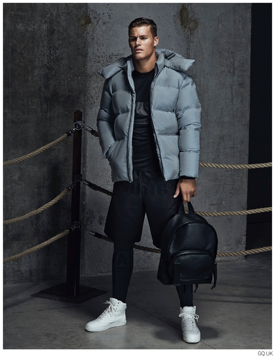 Tyler Maher Models Looks from Alexander Wang for H&M in British GQ
