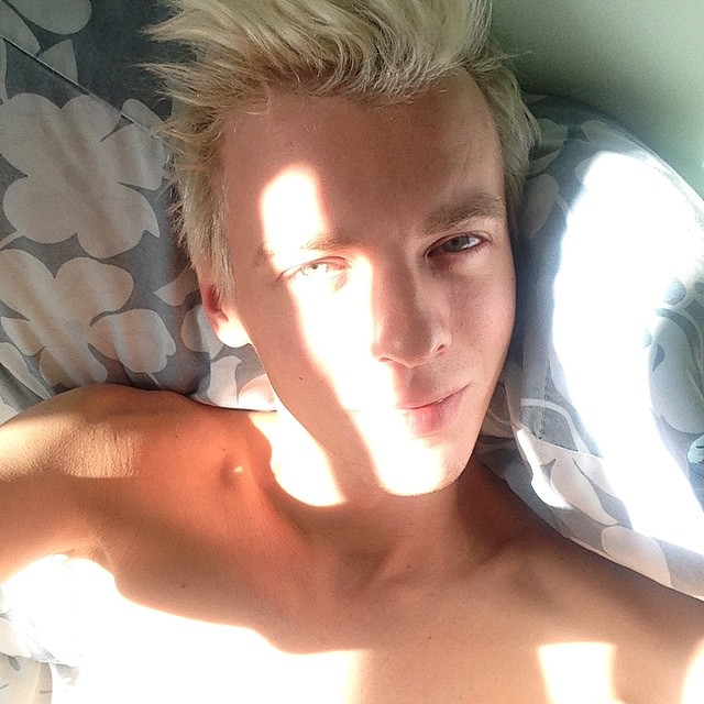 Alexey Galetskiy takes an extra moment to relax in bed.