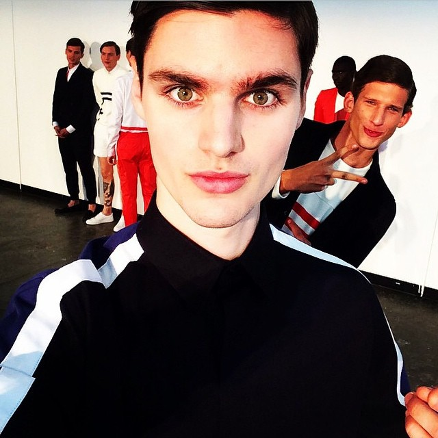 Ben Lark and Botond Cseke pose for a fashion week themed selfie.