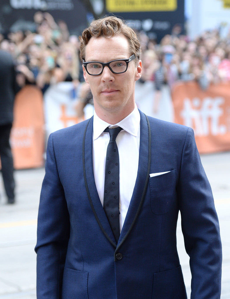 Benedict Cumberbatch Sports Black Framed Glasses + Navy Suit for 'The Imitation Game' Premiere
