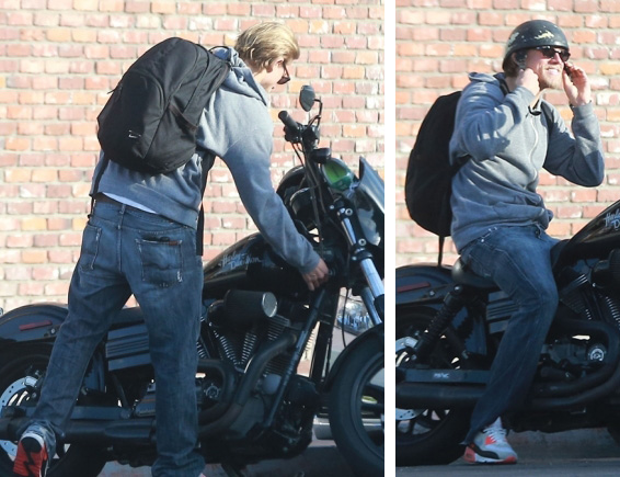 Charlie Hunnam Rides Motorcycle in 7 For All Mankind Jeans