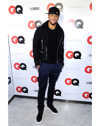 Attending GQ's Superbowl party, Colin Kaepernick went for a casual look with a snapback and a black and navy ensemble that included sneakers and a standout jacket.