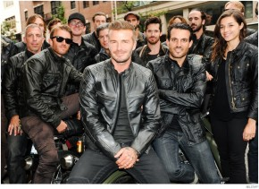 David Beckham poses with Brooklyn bikers.