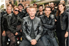 David Beckham poses with Brooklyn bikers.