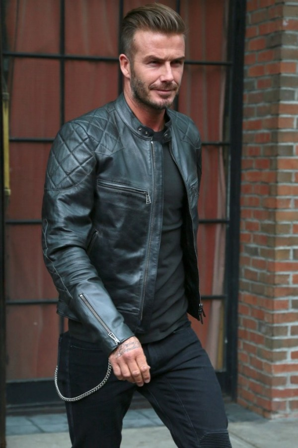 Spotted in New York City on September 9th for New York Fashion Week, David Beckham, no stranger to moto style, was right on the money with slim black jeans, a wallet chain and a leather moto jacket.