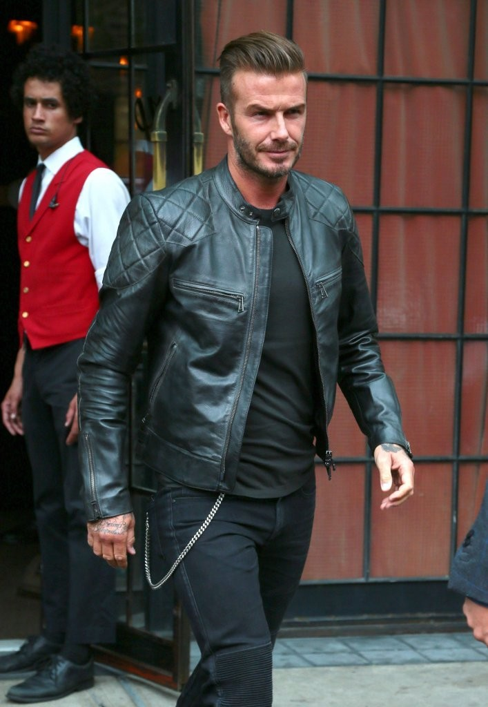 David Beckham Embraces Moto Style In Belstaff Leather