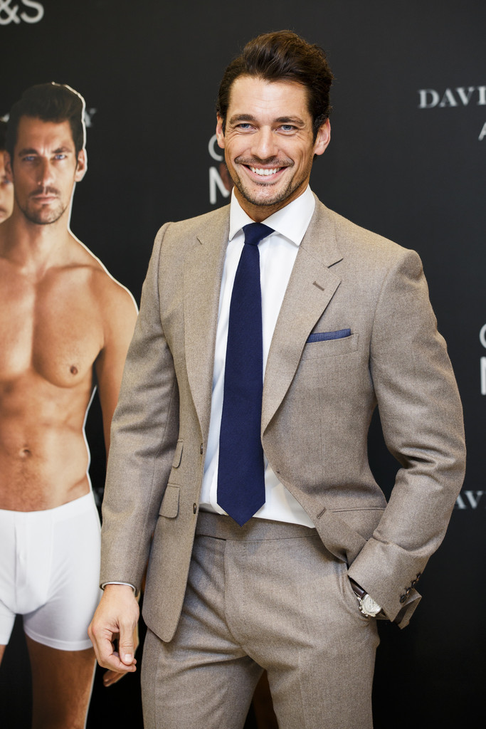 David Gandy Poses With Shirtless Underwear Cut Outs At