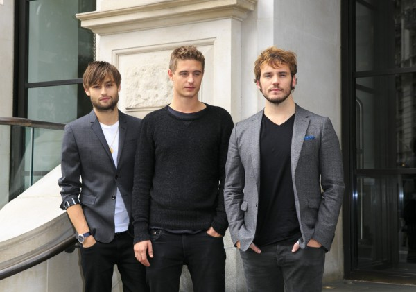 On September 10th, actors Douglas Booth, Max Irons and Sam Claflin were all smiles, attending a photocall in London for their new movie 'The Riot Club'. Going casual for the event, the trio wore sports jackets, t-shirts and knitwear paired with black denim and trainers and boots.