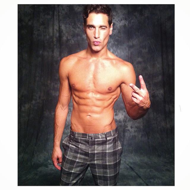 Fabio Mancini poses for a fun outtake during a shoot.