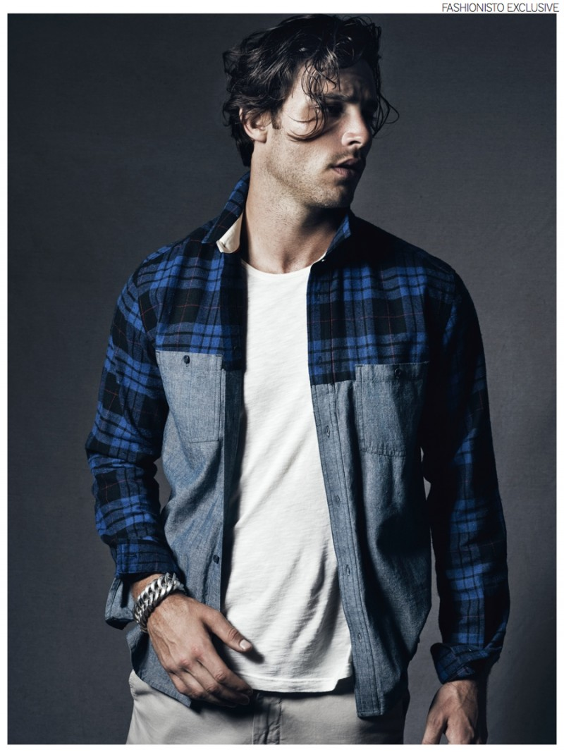 Anthony wears button-up Supremebeing, t-shirt Matiere, pants Original Paperbacks and bracelet Buddha to Buddha .