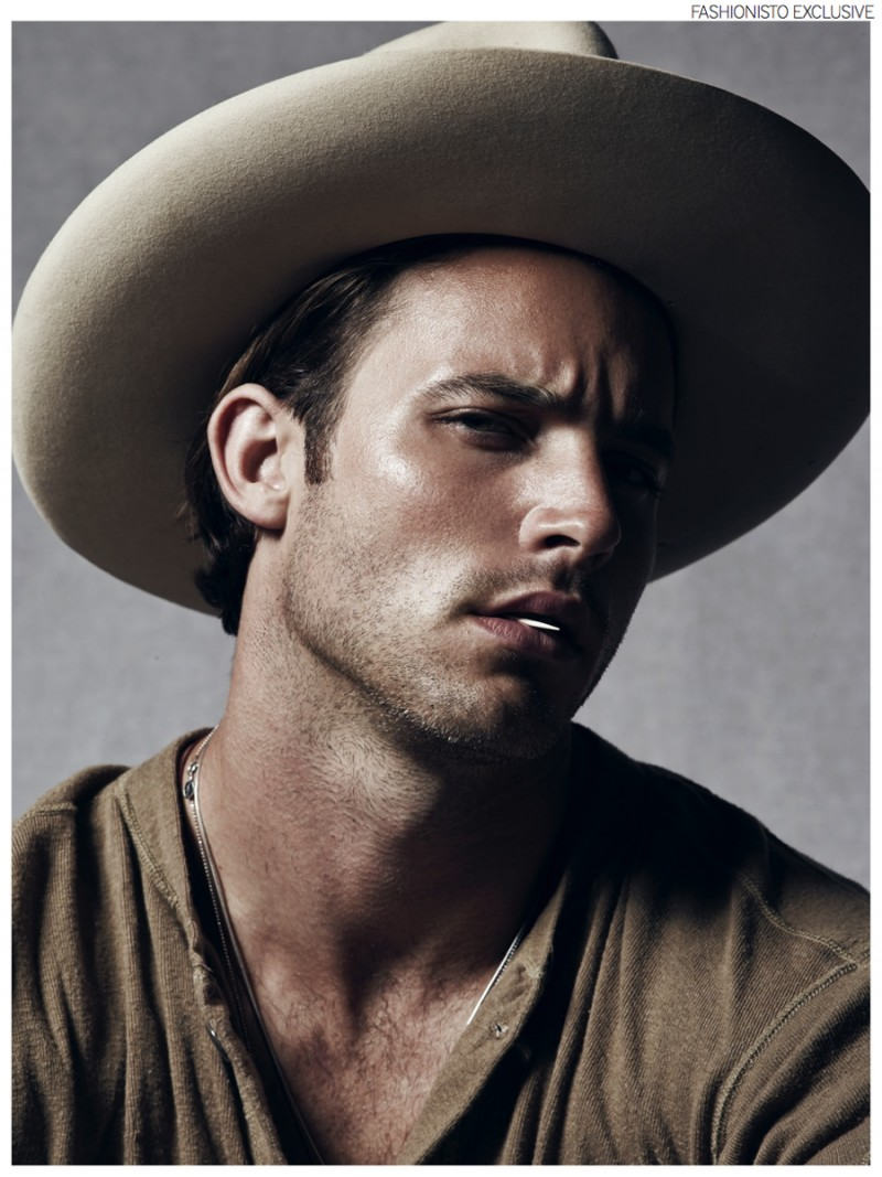 Anthony wears hat Stetson and vintage military henley stylist's own.