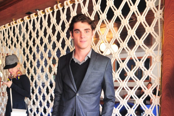 RJ Mitte cleans up in a dapper slim-fit suit from GANT Rugger.