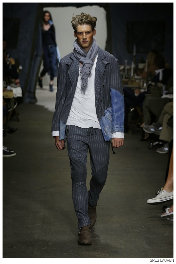28224bbe51f Designer Greg Lauren embraces an old world flair with a knotted scarf that  accompanies relaxed suiting