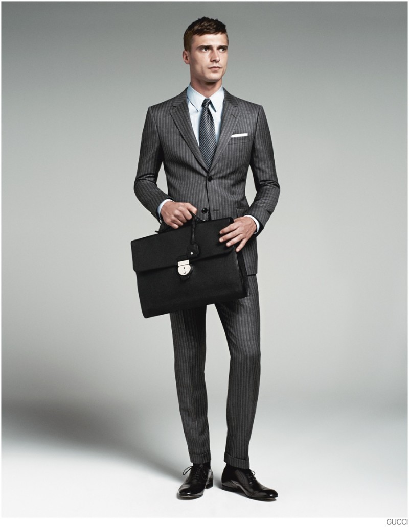 Clément Chabernaud Models Gucci Men's Tailoring Suit Collection