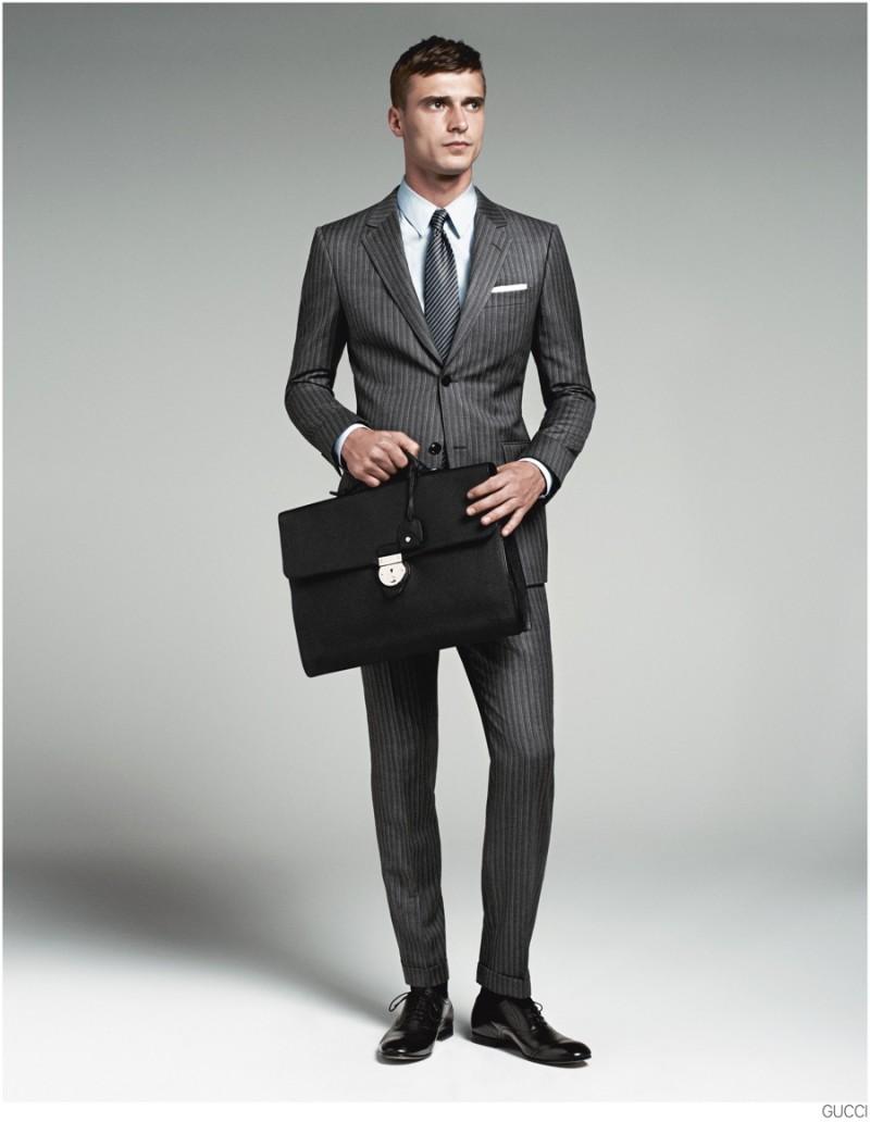 Clément Chabernaud Models Gucci Men's Tailoring Suit ...