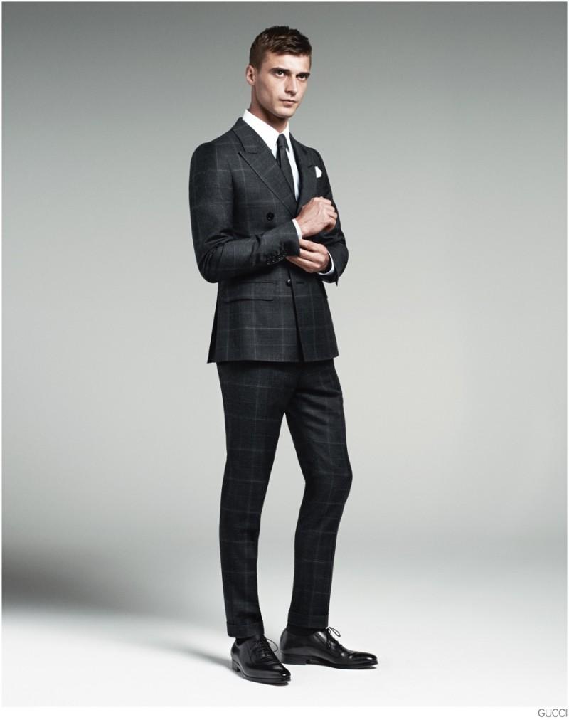 Clément Chabernaud Models Gucci Men's Tailoring Suit Collection