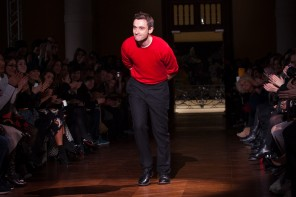 Guilluame Henry takes a bow following his Carven womenswear show in February