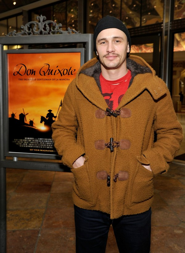 Going for a casual look, executive producer James Franco threw on a beanie, torn graphic t-shirt and a brown duffle coat for the US School of Cinematic Arts screening of 'Don Quixote' at The Americana at Brand on September 26, 2014 in Glendale, California.