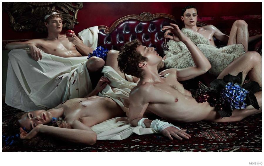 Thomas Bukovatz, Jules Raynal + More Go Nude for Renaissance Art Inspired Editorial for Men's Uno