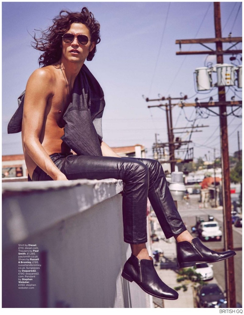 Giving his best Jim Morrison impression, Miles McMillan is photographed by Guy Aroch for an editorial featured in British GQ.