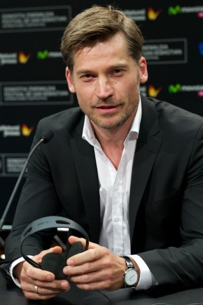 On September 21, 2014, 'Game of Thrones' actor Nikolaj Coster-Waldau attended the 62nd San Sebastian International Film Festival presented by Jaeger-LeCoultre Collection. At the press conference of his new movie 'A Second Chance', Coster-Waldau finished a modest suit and dress shirt with a Master Ultra Thin Jaeger Le-Coultre watch.
