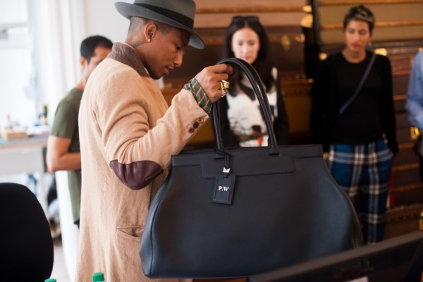 Pharrell shows off one of his Moynat bags