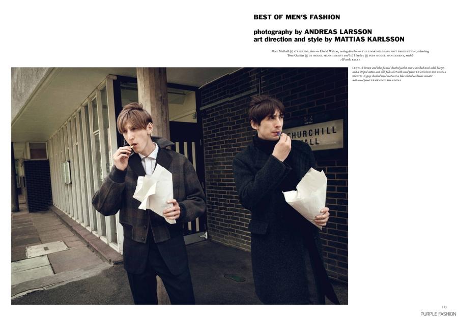 Tom Gaskin + Ed Hartley Rock 60s Inspired Men's Styles for Purple Fashion