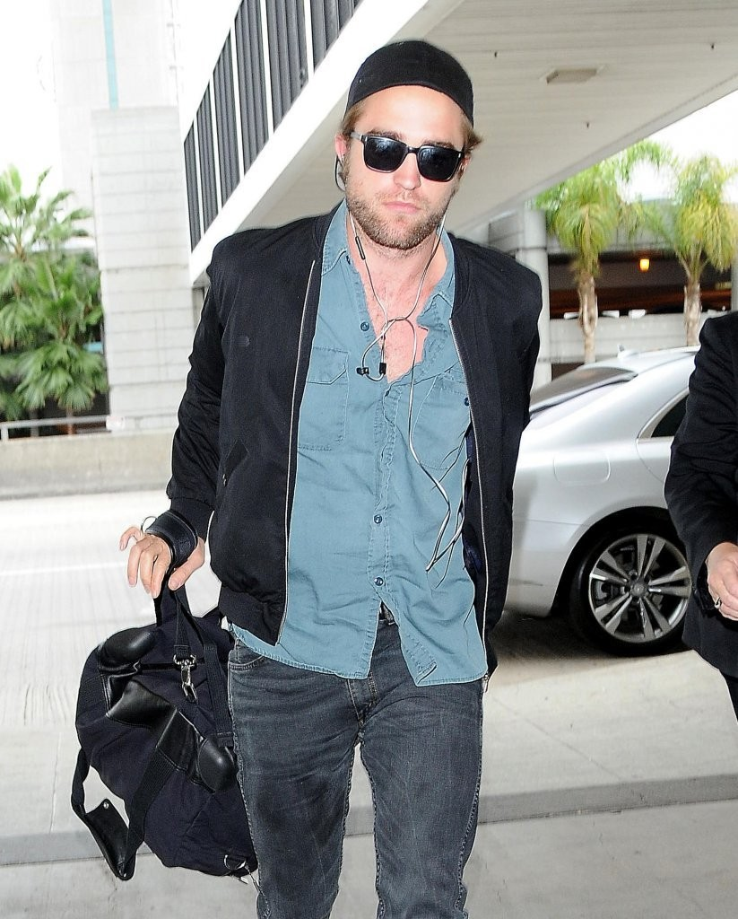 Robert Pattinson Travels in Laid-Back Style - Bomber   Denim Shirt