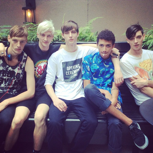 Roberto Sipos, Benjamin Jarvis, Laurie Harding, Jackson Hale and Trevor Feehan catch up in the Big Apple.