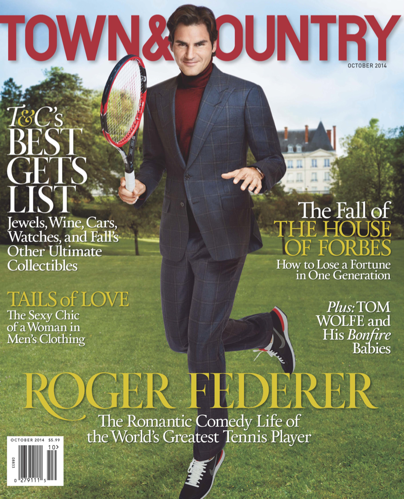 Roger Federer Covers Town & Country October 2014 Issue