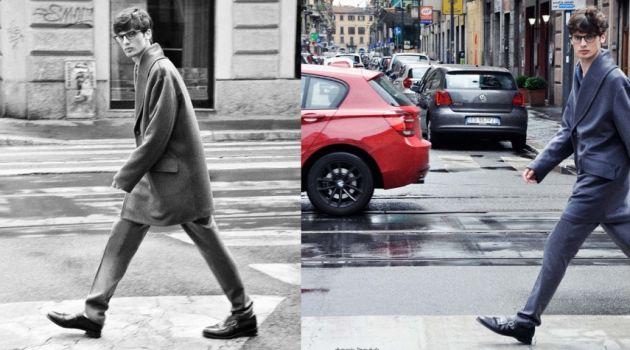 Milano: Andrea Silenzi Dons Canali Fall 2014 for Harper's Bazaar Thailand