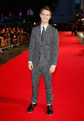 Attending the October 9th premiere of 'Men, Women & Children' during the London Film Festival, actor Ansel Elgort hit the red carpet in a look from Dior Homme. All smiles, Elgort wore a graphic print black cotton gabardine two-button jacket with matching trousers and a coordinate white print dress shirt. His look was finished with black calfskin derbies featuring white soles.