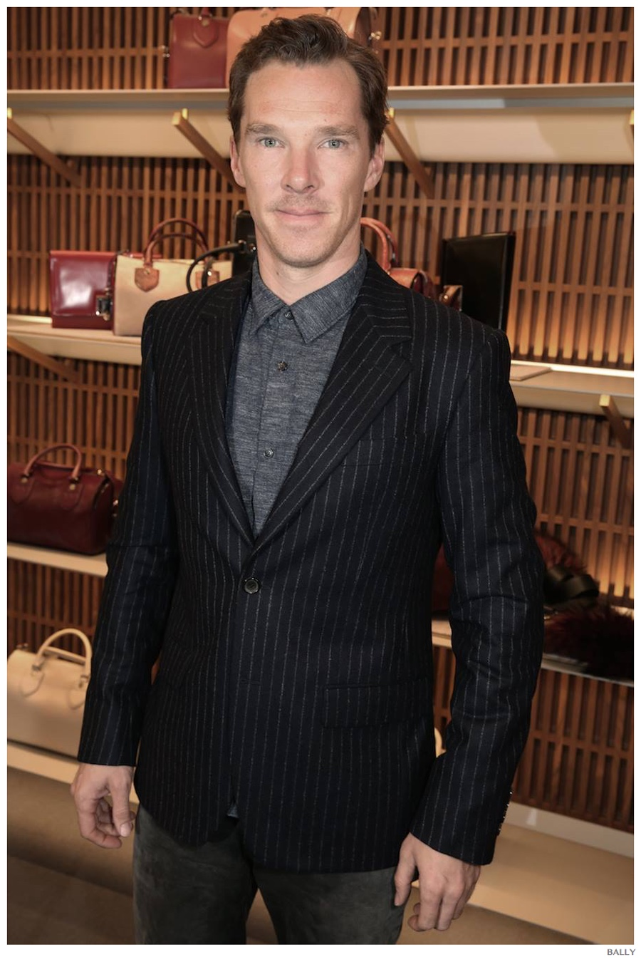 Always stylish, actor Benedict Cumberbatch plays with classic pinstripes as a smart separate.