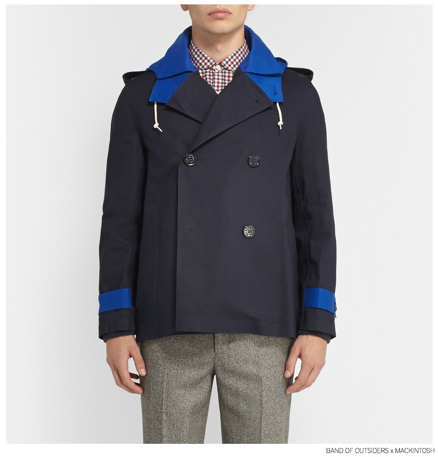 Band of Outsiders x Mackintosh Bonded Cotton Peacoat in Blue