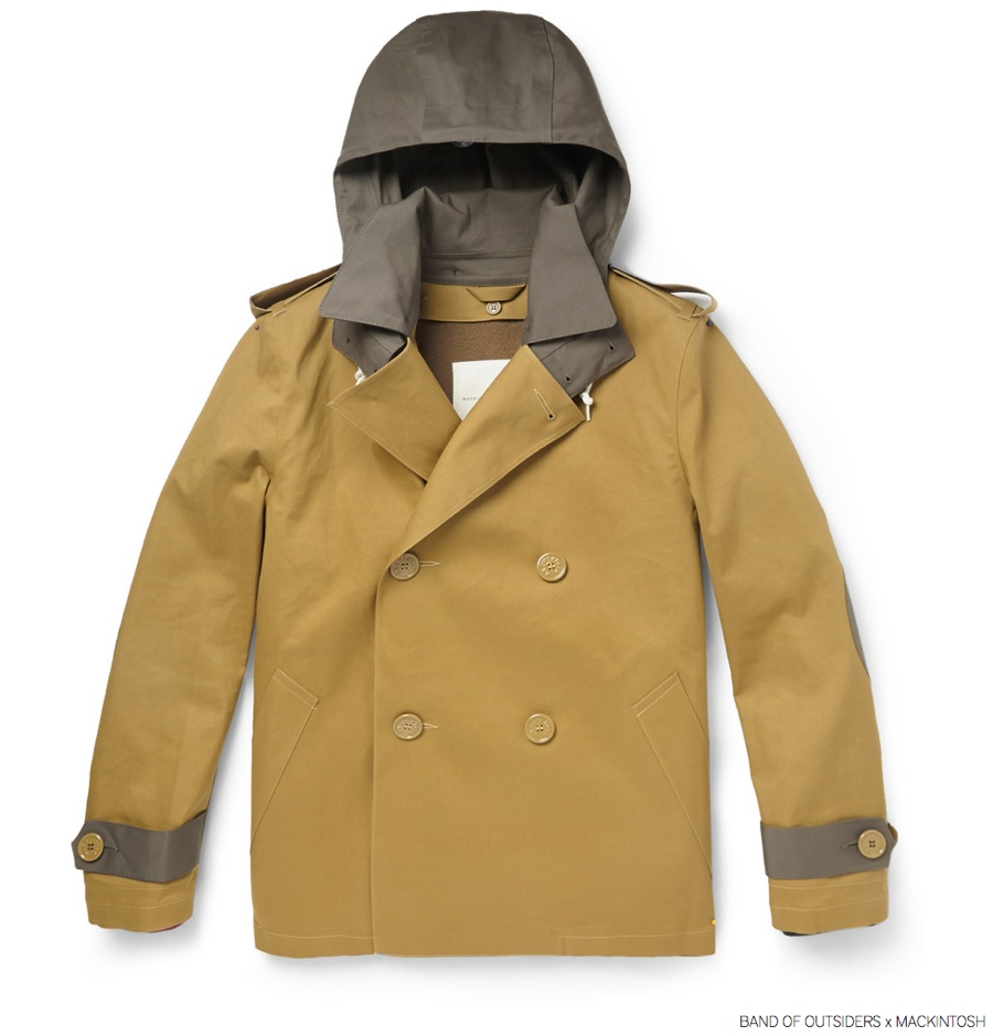 Band of Outsiders Mackintosh Bonded Cotton Peacoat in Brown