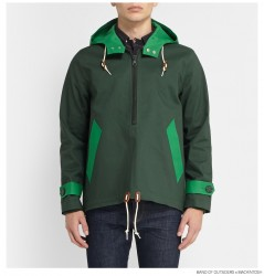 Band of Outsiders Mackintosh Bonded Cotton Pullover Jacket in Green